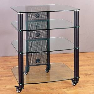 NGR Series TV Stand Frame: Silver, Glass Color: Tinted Black, Size: 4 Shelves