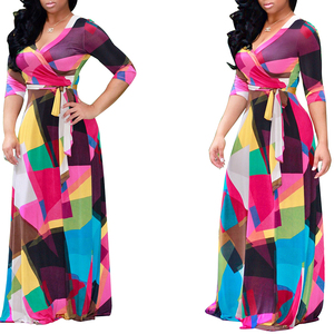 Printed long sleeved belt street style dress african maxi dresses