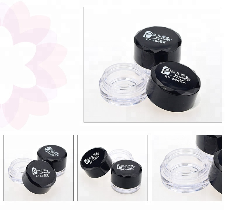 Round cosmetic packing eyeshadow empty plastic jar with custom printing