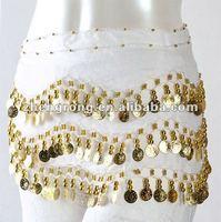 Popular fashion belly dance scarf hip belt 3rows skirt wrap costume