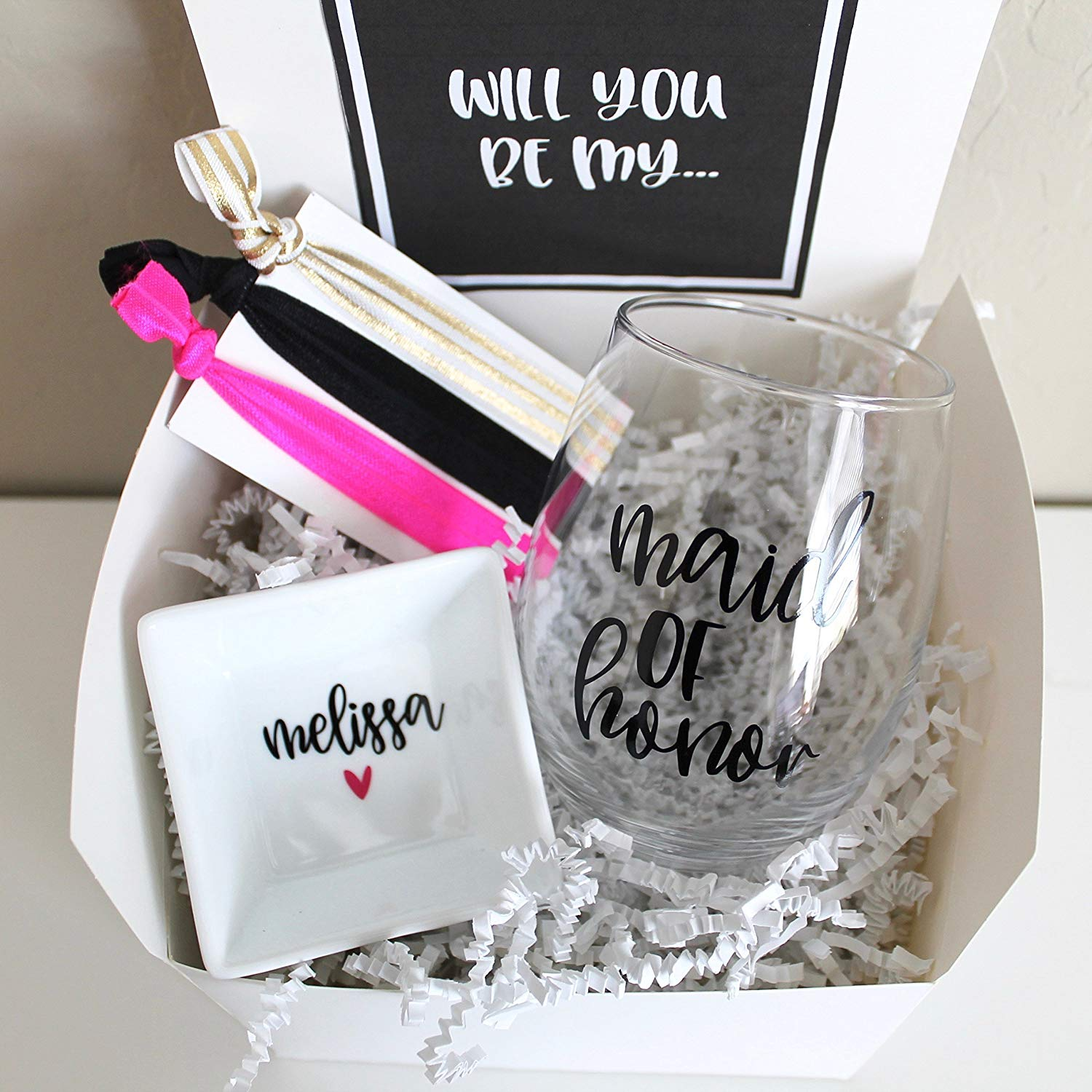 Will you be my Bridesmaid Gift Box | Personalized Wine Glass | Ring Dish | Hair ties | Wedding Gift for Best Friend | Proposal | Maid of Honor