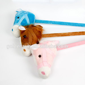Plush stick horse toys with music case