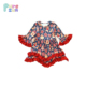 Children Frocks Designs 2018 Red Ruffle Girls Fancy Dresses With Colorful Lovely Printing Christmas Baby Dresses
