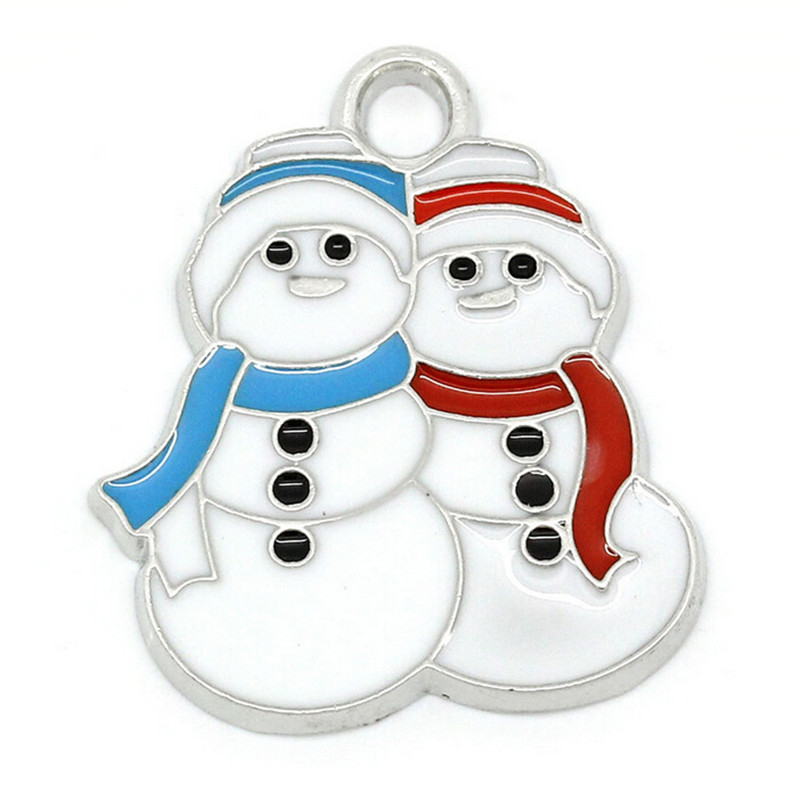 Fashion Enamel Color Christmas Couple Snowman Jewelry Accessories Pendant