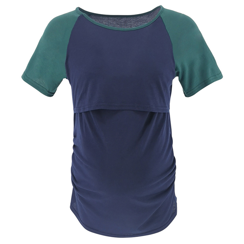 Patchwork Color Women Pregnancy Clothes Maternity Clothing Breastfeeding Tee Nursing Tops Short Sleeve T-shirt