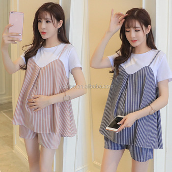 91b13793fdd42 NS1346 wholesale korean fashion ladies maternity clothes two pieces summer  pregnancy clothes sets