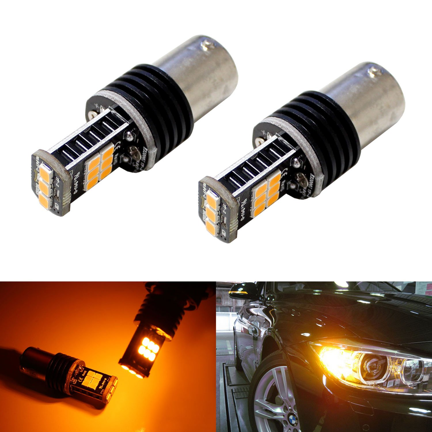 iJDMTOY (2) Amber CAN-bus Error Free 7507 PY21W LED Bulbs For BMW 1 2 3 4 5 Series X1 X3 X4 X5, etc Front or Rear Turn Signal Lights