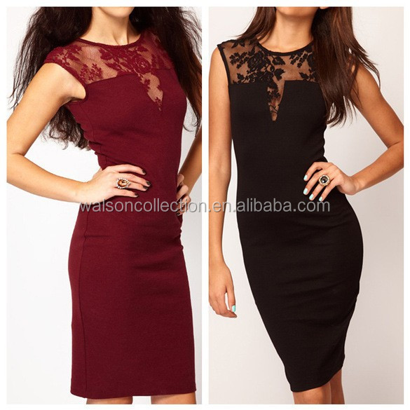 2015 Sexy femmes dentelle robe moulante Mini Slim manches Backless Party Dress