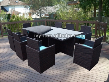 cube set table outdoor dining setrattan cube garden set8 seater rattan - Garden Furniture 8 Seater