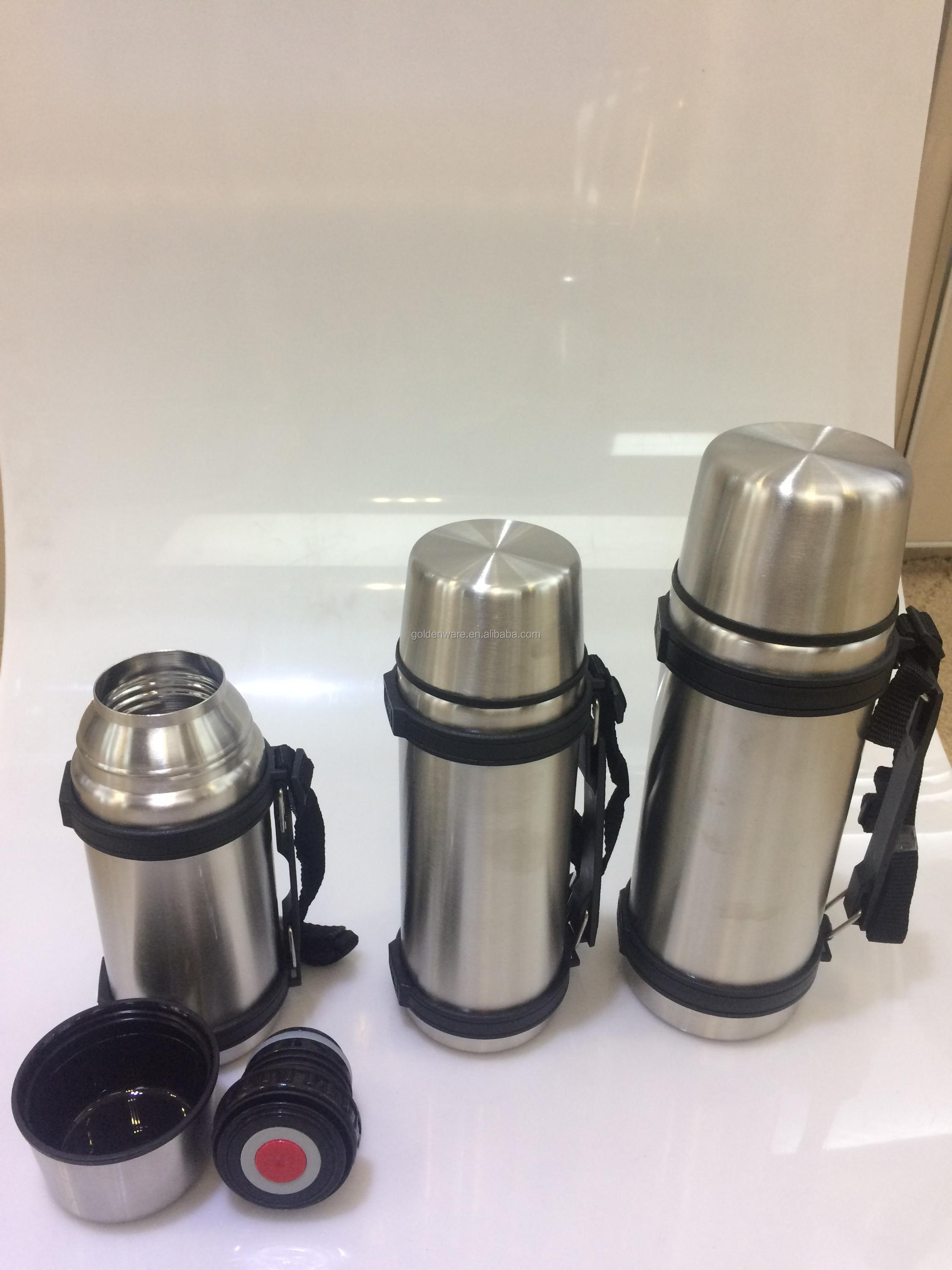 Golden Ware double wall stainless steel travel 2 liter vacuum thermos flask with strap