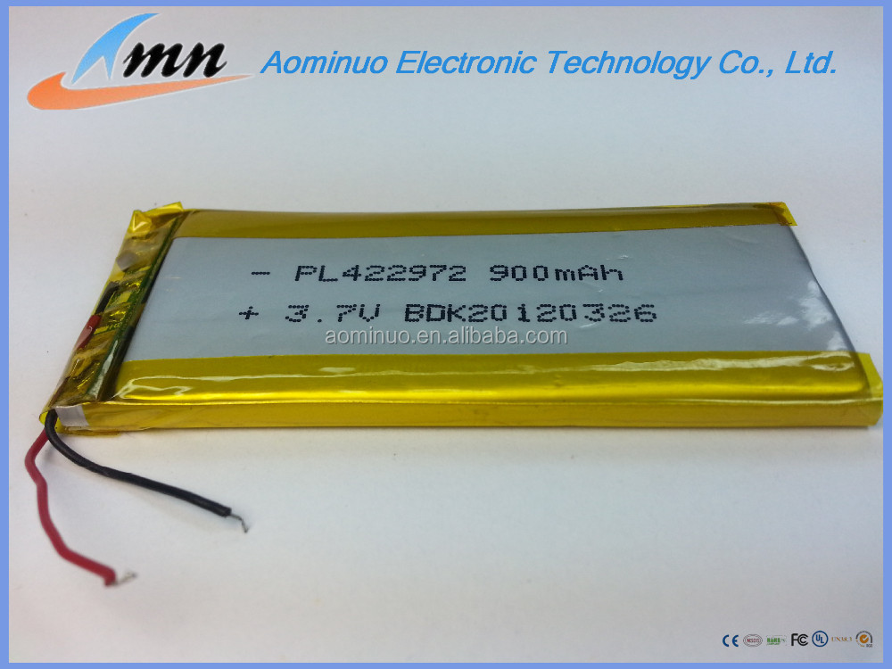 china factory price 3.7v 900mah 422972 li-ion polymer battery for electronic toys