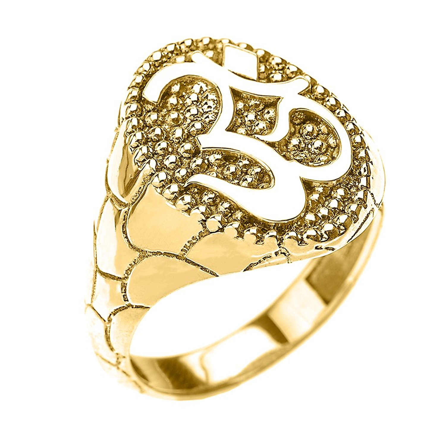 Solid 10k Yellow Gold Nugget Band Om/Ohm Men's Ring