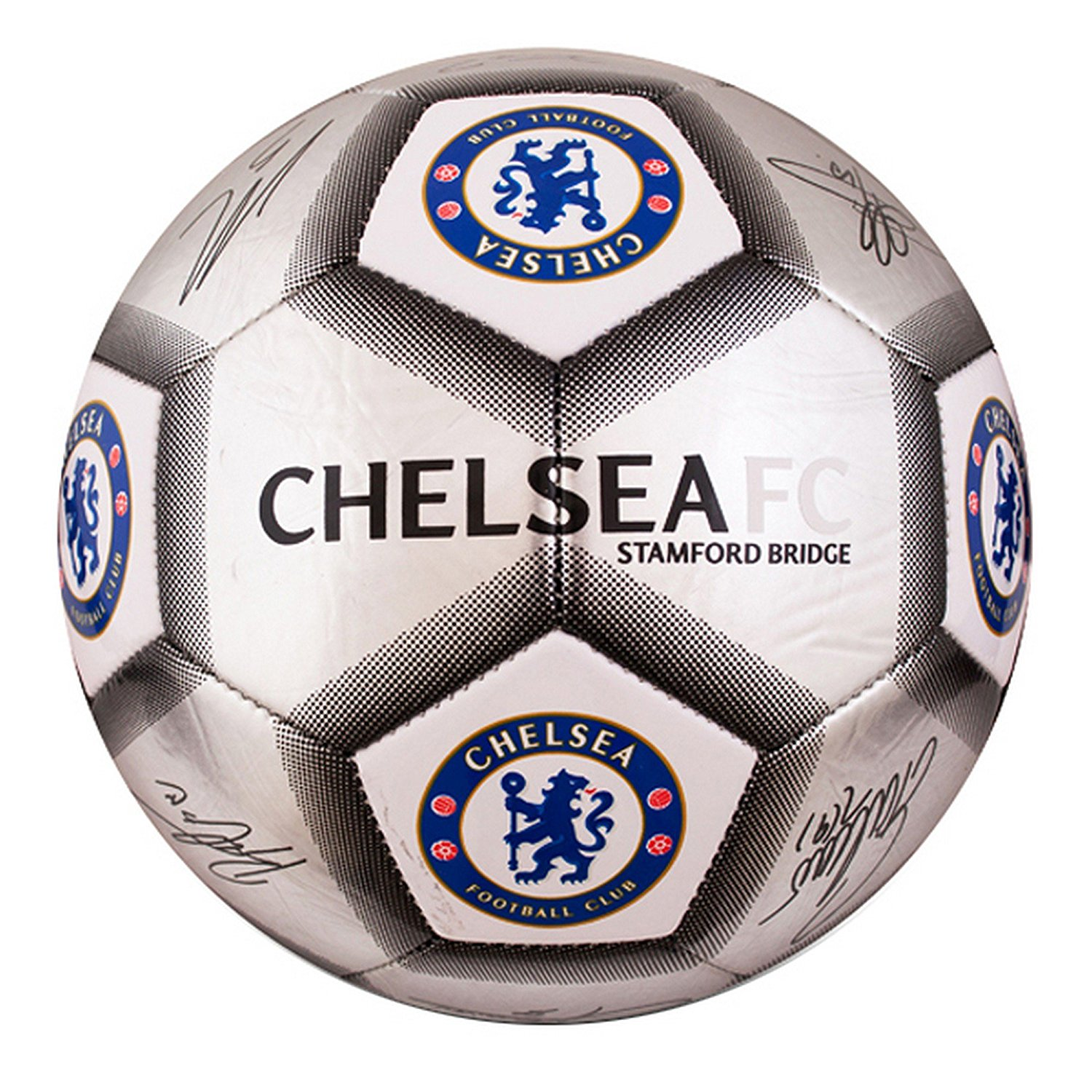 Chelsea FC Official Silver Signature Crest Football/Soccer Ball (Size 5)