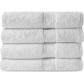 4 Piece Luxury Combed Cotton Bath Towel Gift Set - White Bath Towel
