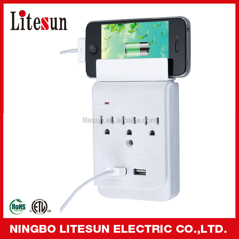 LITESUN LA 5S A ETL CETL 3 outlets Surge protected Adapter with 2 USB charging ports Current Tap can put phone on the top