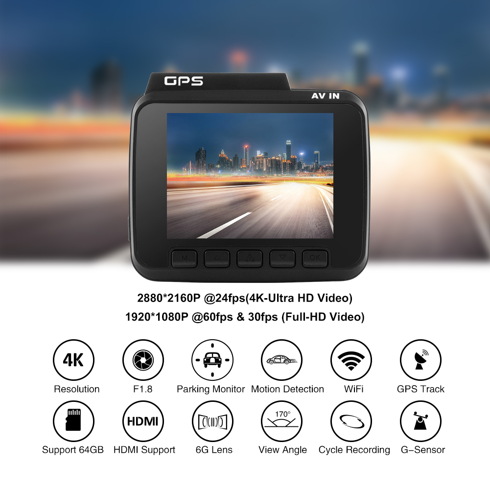 Car Dvr 4k 2880*2160P user manual GS63H built in GPS control by smart phone with WIFI
