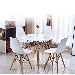 Wooden round pedestal dining table/square table for 4 person