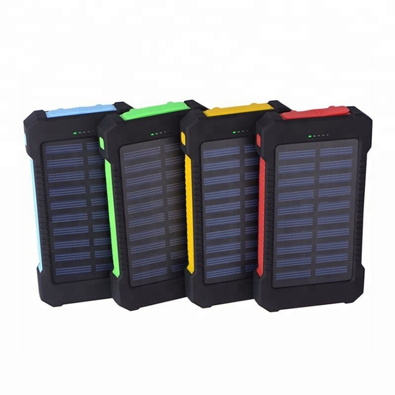 ABS + PC + Bahan Silikon Tahan Air 10000 MAh Solar Power Bank untuk Sampel Gratis