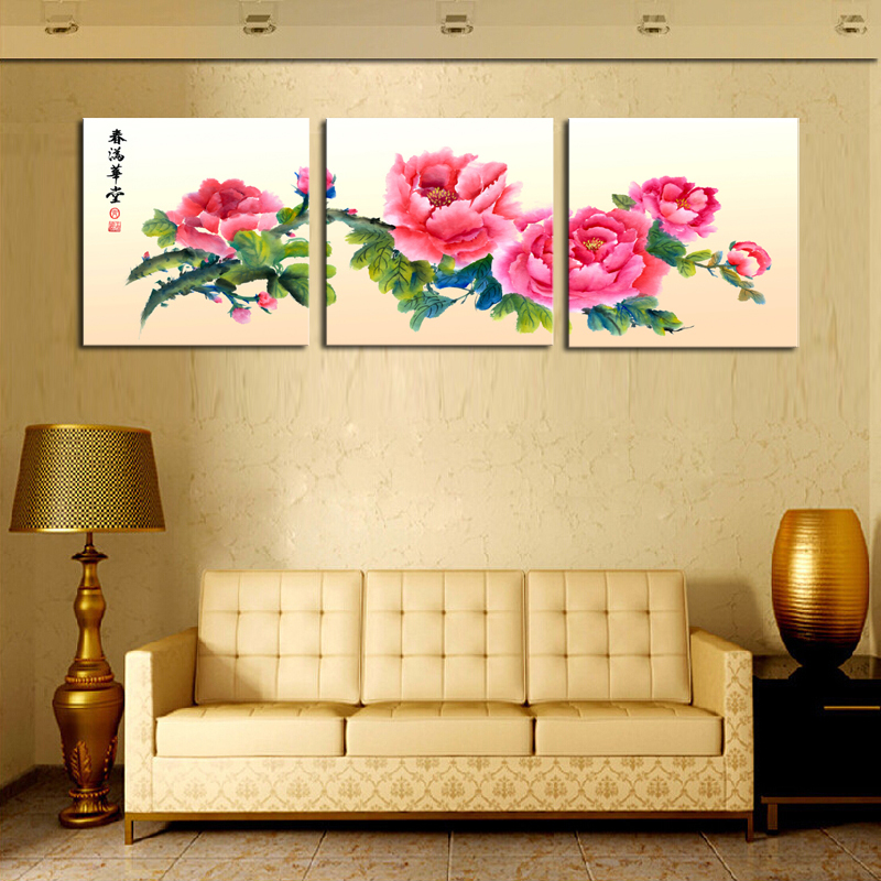 Cheap Art Decor: Unframed 3 Sets Canvas Painting Red Chinese Style Flowers
