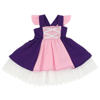 High end cotton flutter sleeve pink purple lace ruffle boutique princess rapunzel inspired dress