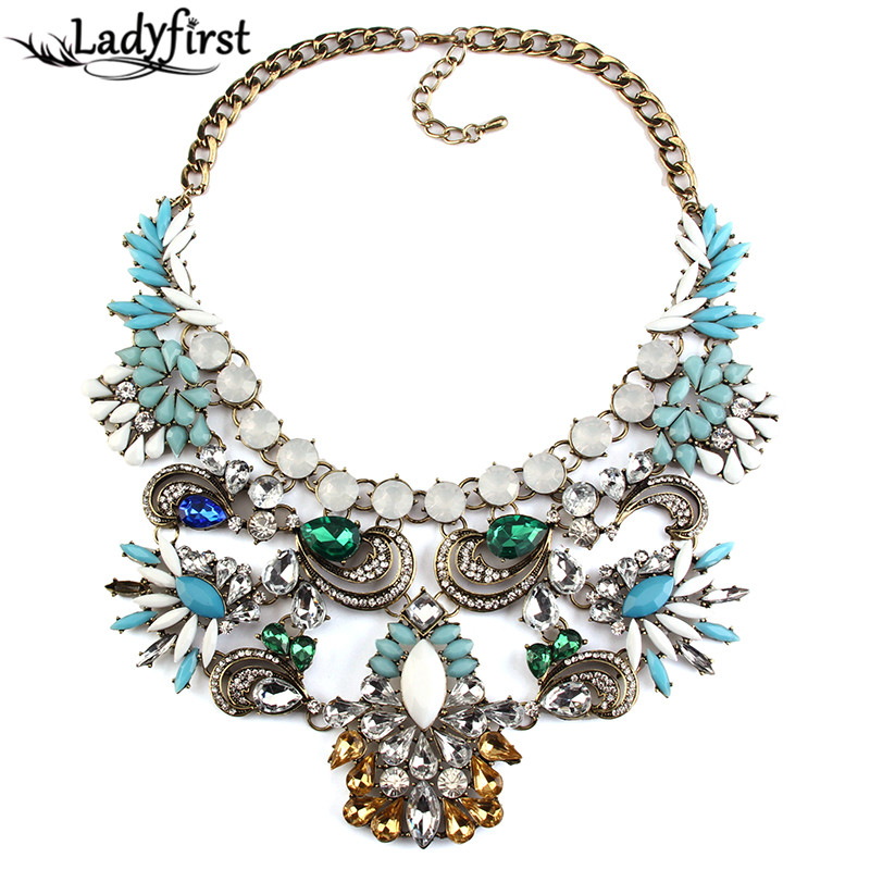 Ladyfirst 2017 Women Statement Crystal necklace Costume Accessories Necklaces pendants Maxi Collar Necklace 2953