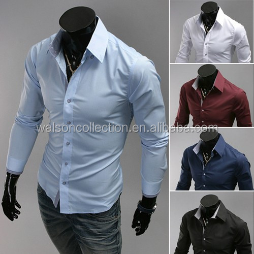 Wholesale mens <strong>shirts</strong> Mens Luxury Casual Slim Fit Stylish Solid Color Dress <strong>Shirts</strong> 2015