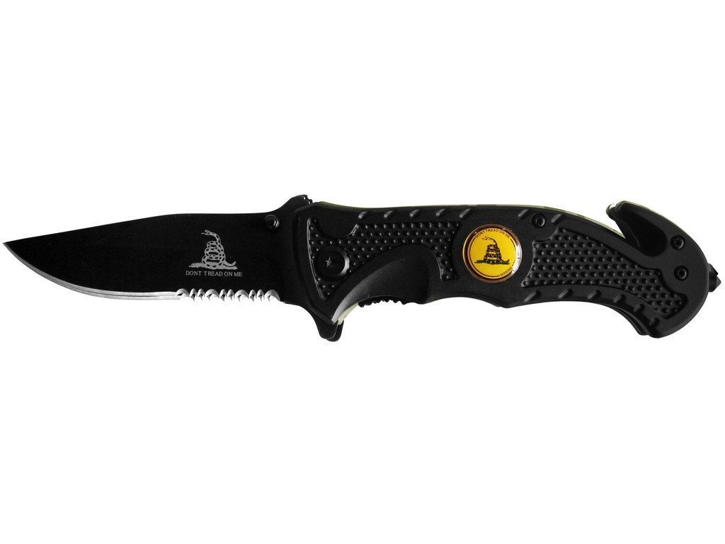 Rogue River Tactical Knives US Marine Corps Don't Tread On Me Spring Assisted Rescue Pocket Knife Black Tactical Grip Drop Point Blade Gadsden Flag Patriot Military ...
