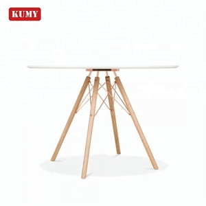 Latest designs round mdf white paint top cross metal beech wood leg mesa de comedor table de salle a manger wooden dining table