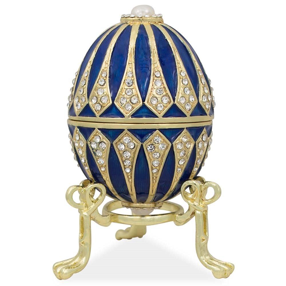"3.25"" Blue Enamel Jeweled Faberge Inspired Easter Egg"
