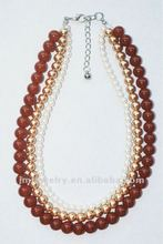 2012 fashion necklace with pearl/glass beads jewelry J.M.R