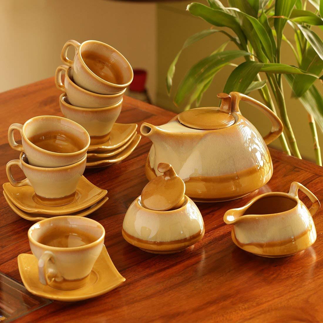 ExclusiveLane Tea Cups & Kettle Set Dual Glazed Studio Pottery In Ceramic (Set Of 15) - Cups Tea Cups Mugs Coffee Mugs Drinkware Sets Tea Cup Set Tea Sets Kettle Set Cups And Kettle Set