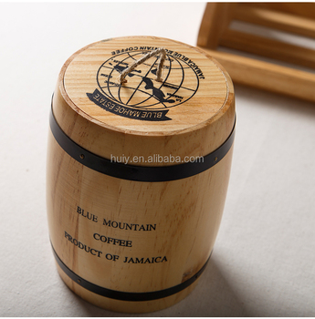 Wooden Coffee Storage Container Pine Wood Mini Coffee Bean Cask