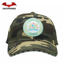 6 Panel Green Camo Baseball Cap Army Cap Camo Hat with Embroidered Woven Patch