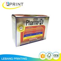 2017 new design UV folding flat pack paper box custom printed packaging boxes for pharmaceutical