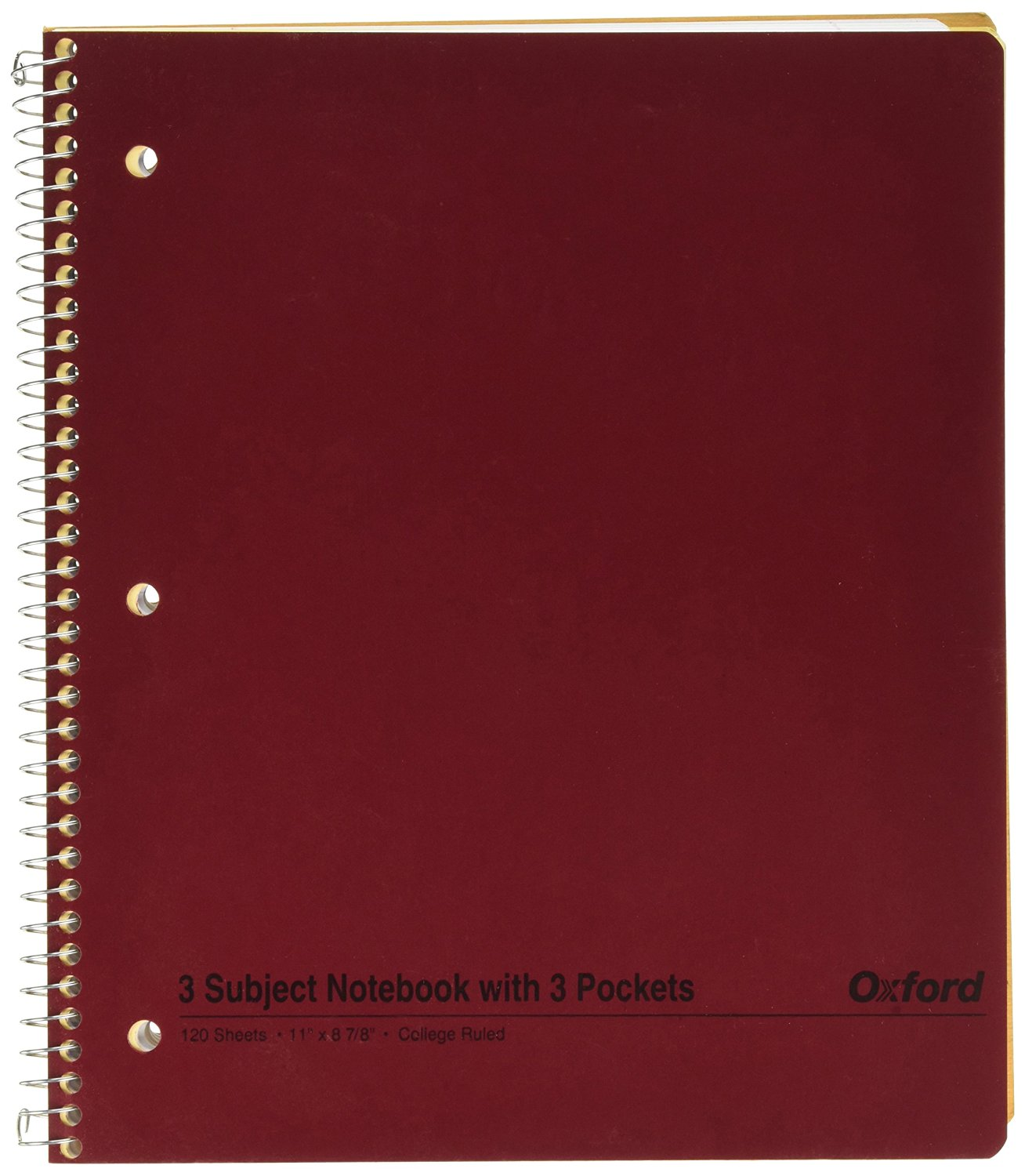Ampad Single Wire Notebook, Size 11 x 8-7/8, 3 Subject, 3 Pocket, Assorted Colors (Red, Blue, Purple, Garnet), College Ruled With Margin Line, 120 Sheets Per Notebook (25-425)