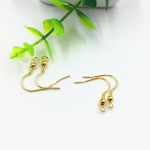 S1058 Gold Plated Stainless Steel Earring Fish Hook with Ball ,Gold French Earwires