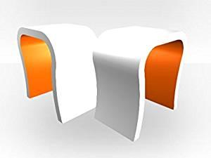 Zespoke White Outer Curved Pair Lamp Table - Orange Gloss Inner