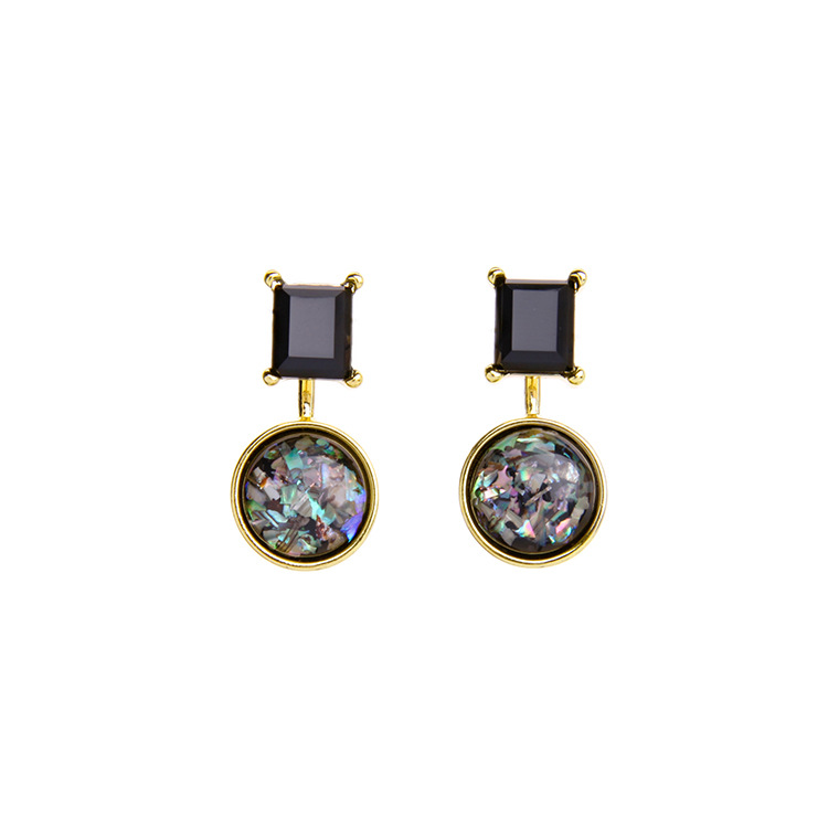 2018 Latest Fashion Gold Square And Round Shaped Drop Earring For Women