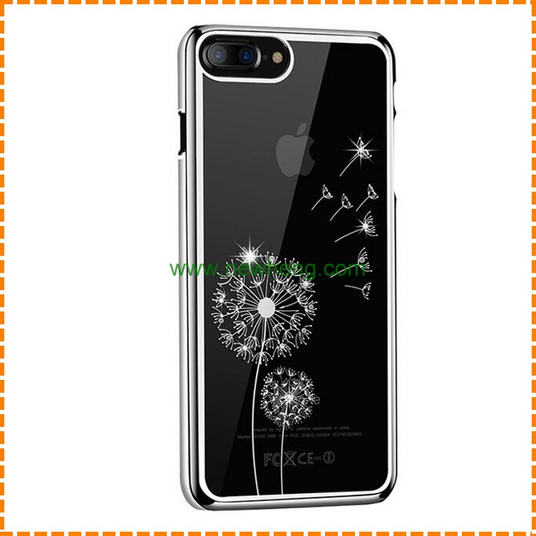 Hot Selling Creative electroplating Dandelion soft tpu Transparent phone case for iphone 7 plus