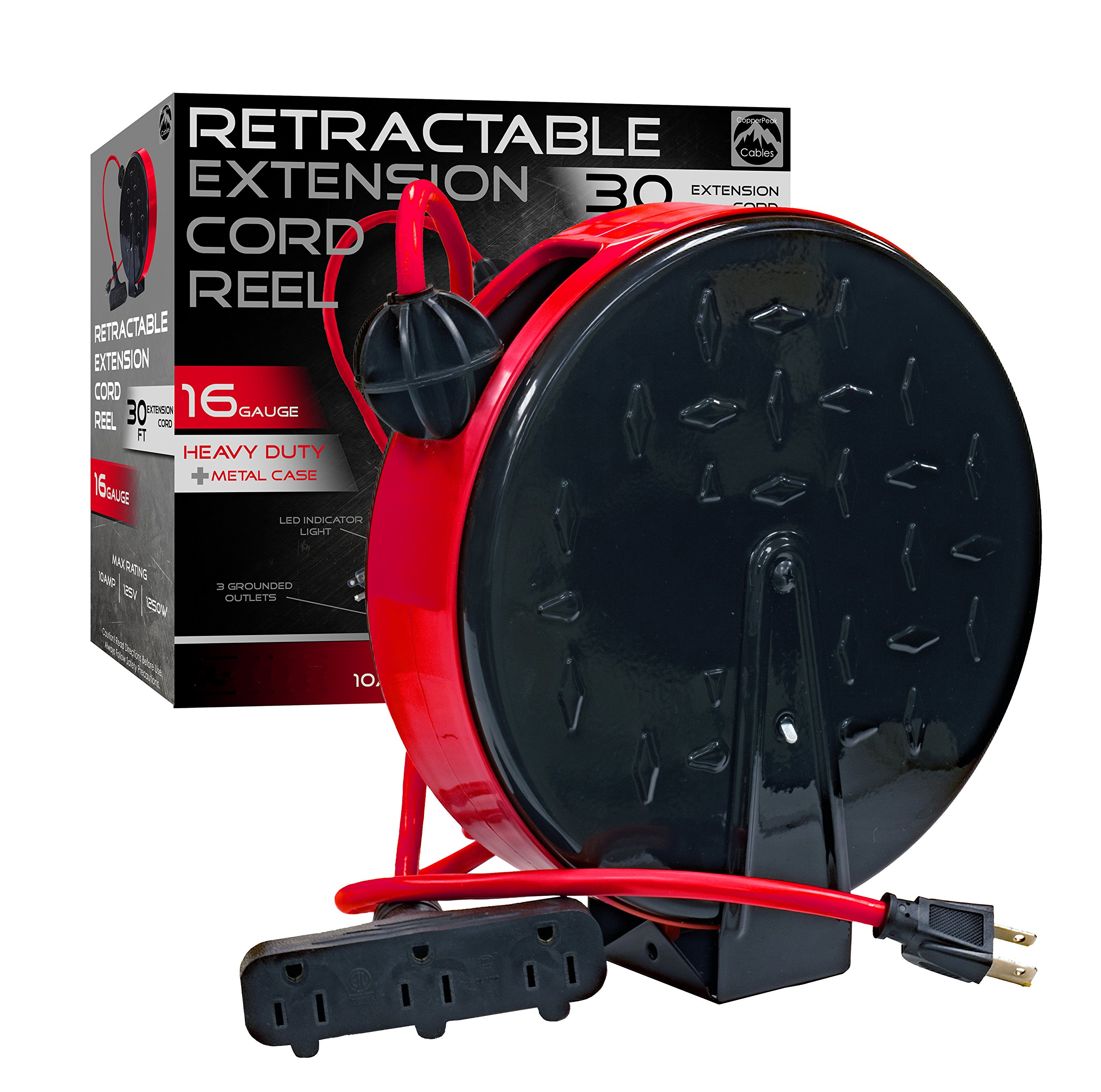 CopperPeak 30 ft Retractable Extension Cord Reel - Ceiling or Wall Mount - 16 gauge - Red and Black
