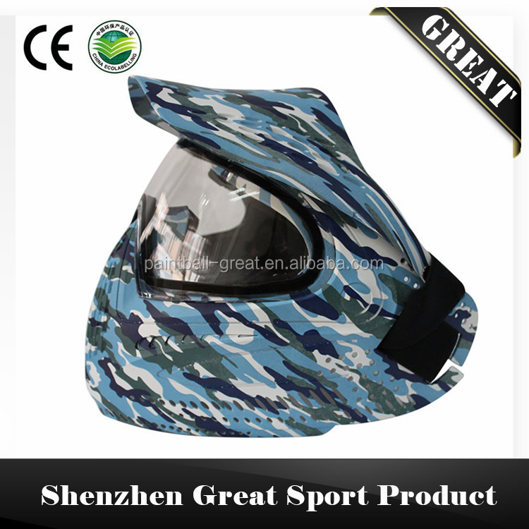 Paintball Mask with Double Thermal Lens with Visor Watercolor Series Contra
