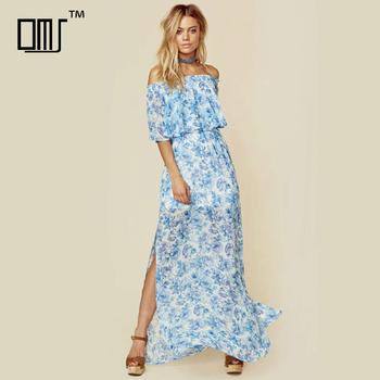 Pioen Blauw Bloemen Mumu Jurken 2018 Dames Off Shoulder Maxi Jurk Buy Off Shoulder Mumu Jurk,Pioen Bloemen Maxi Jurk,Maxi Dames Jurken Product on