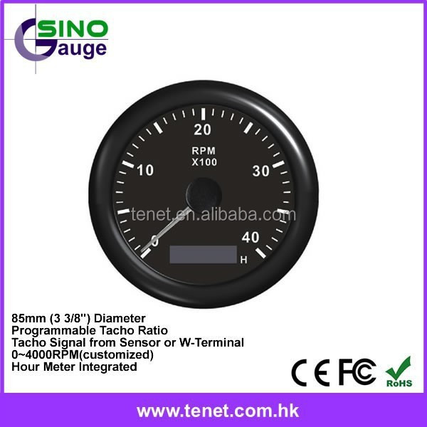 ELING Universal Tachometer RPM Gauge with Adjustable Hour Meter and RPM Alarm 0-12000RPM 85mm with Backlight