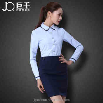 High Quality Juqian Womens Business Shirts Oem Las Slim Fit Blue Office Work Wear Dress