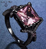 925s silver jewellery solitaire ring, black gun color big ruby stone ring