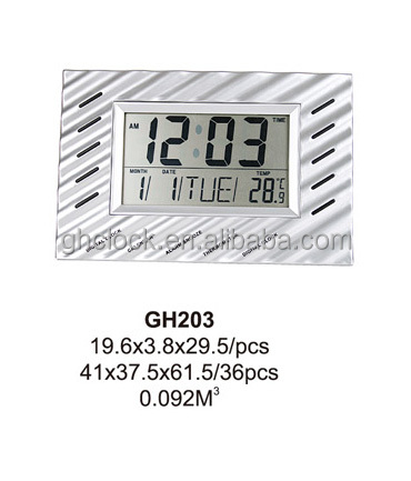 Wavy Shell Multifunction LCD Digital Wall Clock(GH203)