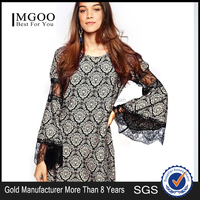MGOO High Quality Women Black Vintage Short Dress With Trumpet Long Sleeves Lace Applique Boutique Clothing 15151C401