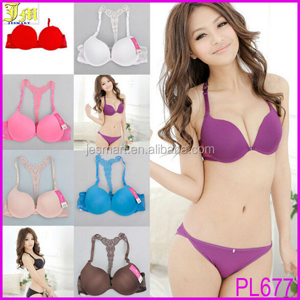 Hot Women Girls New Sexy Front Closure Lace Racer Back Push Up Bra Factory Wholesale