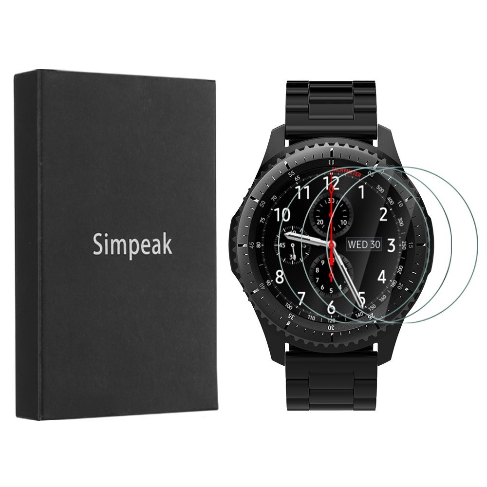 Simpeak [3 Pack] Compatibe for Glaxy Watch (46mm)/ Gear S3 Tempered Glass Screen Protector, Glass Screen Film for Samsung Gear S3 Frontier/Classic Smartwatch, [Bubble Free ] [9H Hardness]