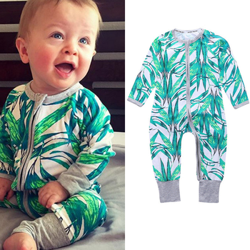 YY10196A Infant grows bodysuit rompers wear long sleeves pants bamboo leaf pattern baby clothing manufacturers direct